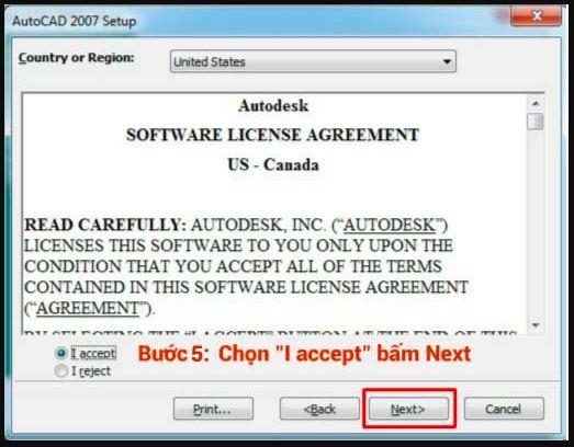 chọn apceept để tiếp tục cài đặt autocad 2007