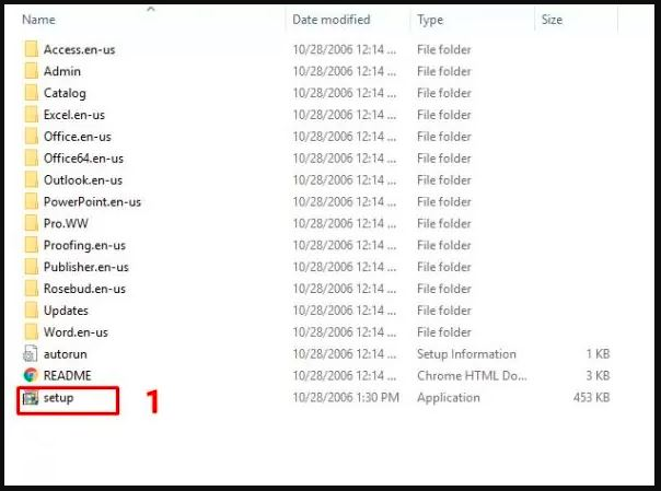 hướng dẫn cài đặt office 2007 chạy file setup để bắt đầu cài đặt