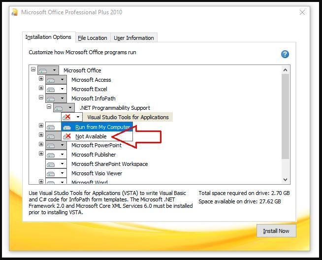 chọn các ứng dụng cần thiết cần cài đặt trong office 2010