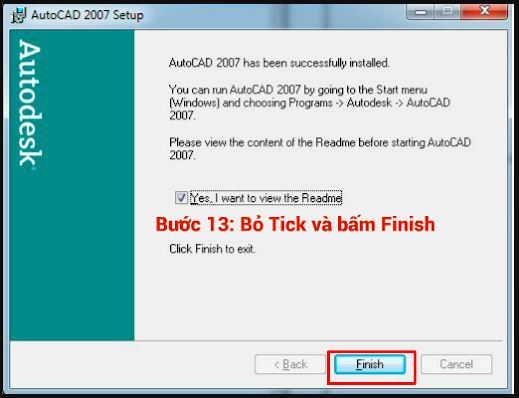 kết thúc quá trình cài đặt autocad 2007 bấm finish