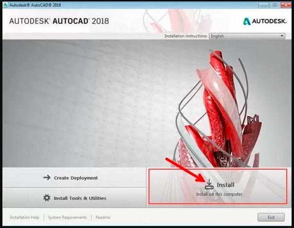 chọn install để tiếp tục quá trình cài đặt Autocad 2018