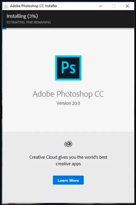 đợi quá trình cài đặt photoshop cc 2019 kết thúc