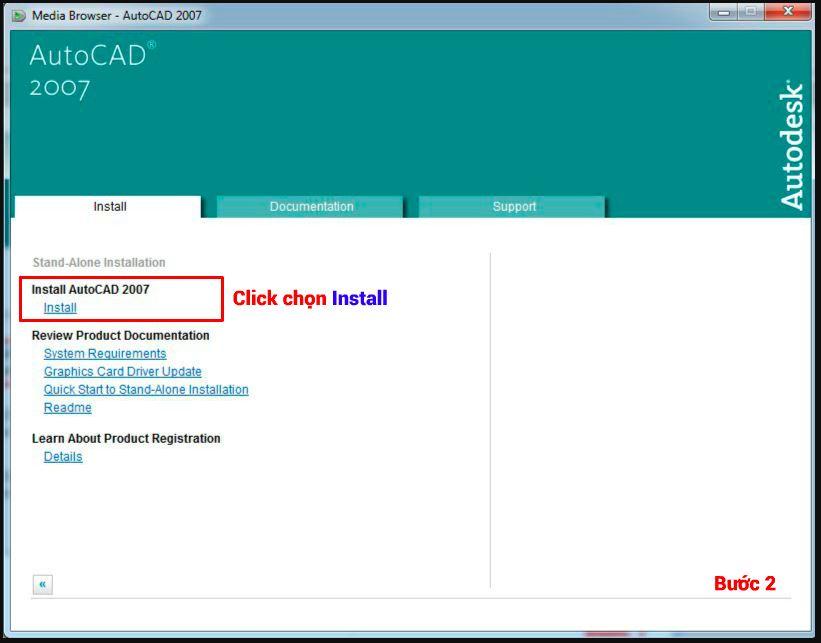 chọn install để tiến hành cài đặt Autocad 2007