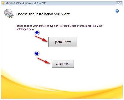 lựa chọn hai hình thức cài đặt office 2010