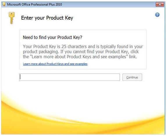 tiến hành nhập key để cài đặt office 2010