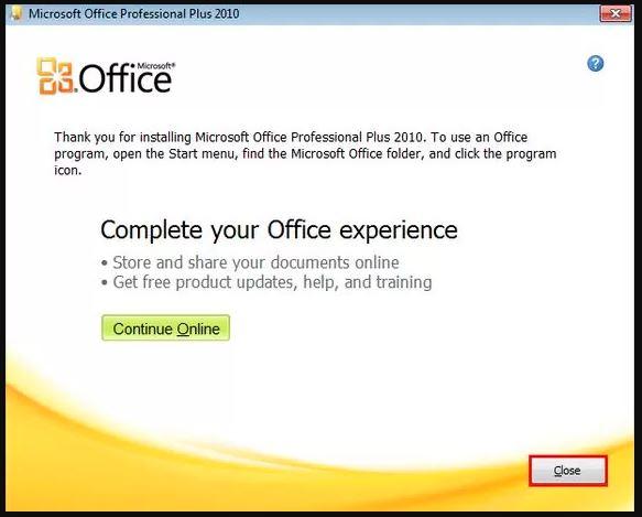 chọn close để quá trình cài đặt office 2010 kết thúc