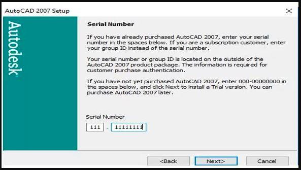 nhập key để cài đặt Autocad 2007