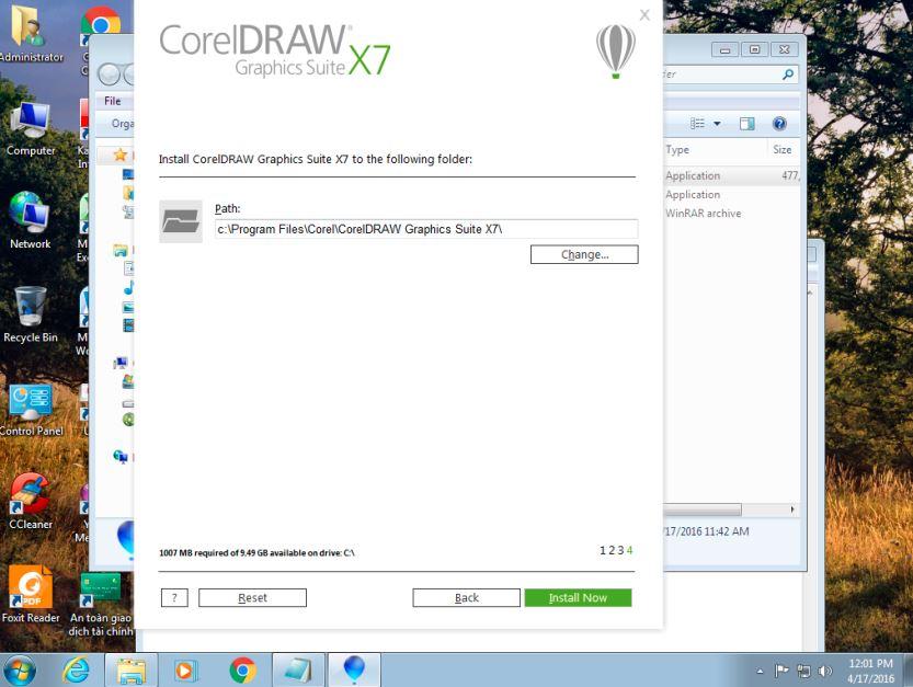 chọn install now để tiếp tục cài đặt corel x7