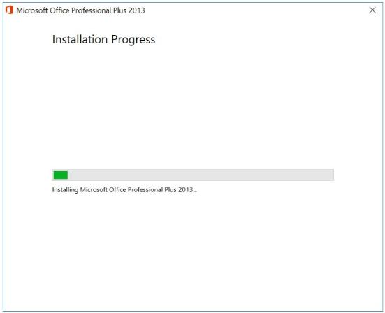 quá trình cài đặt office 2013 bắt đầu